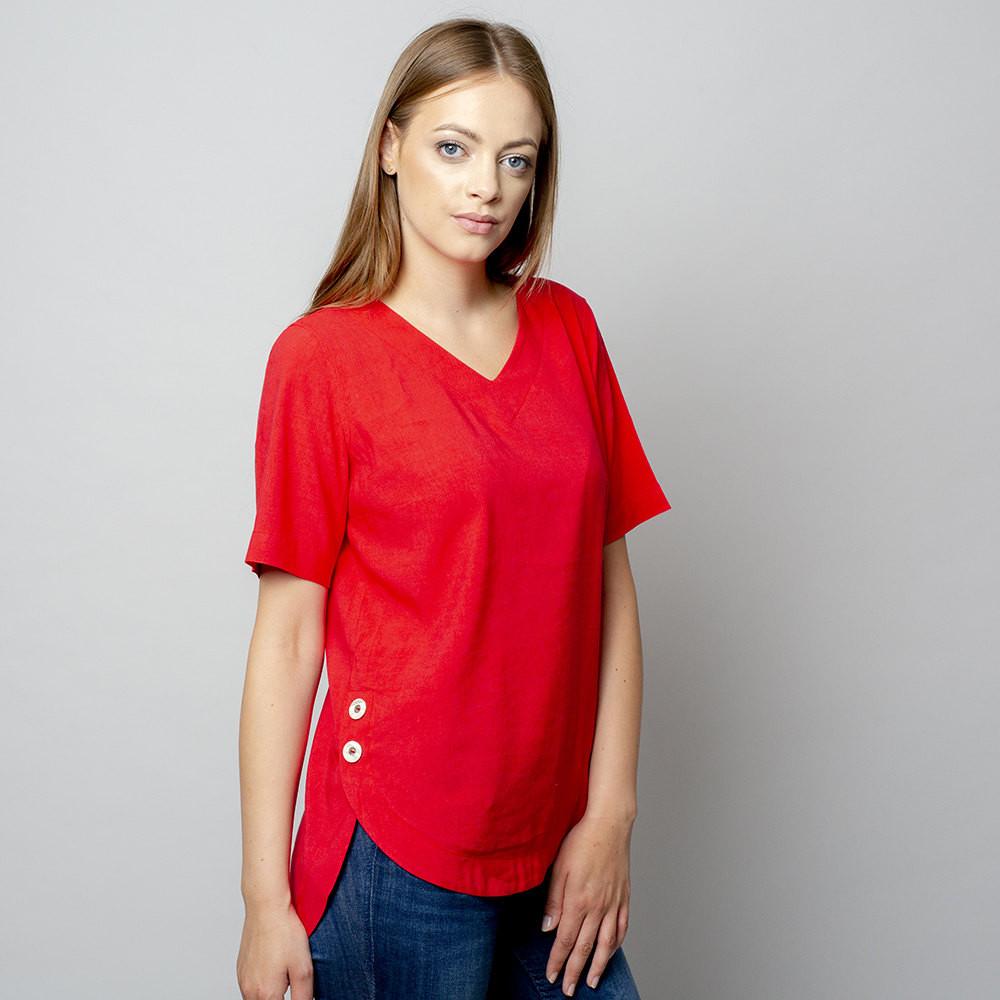 Czerwona bluzka oversize z krótkim rękawem