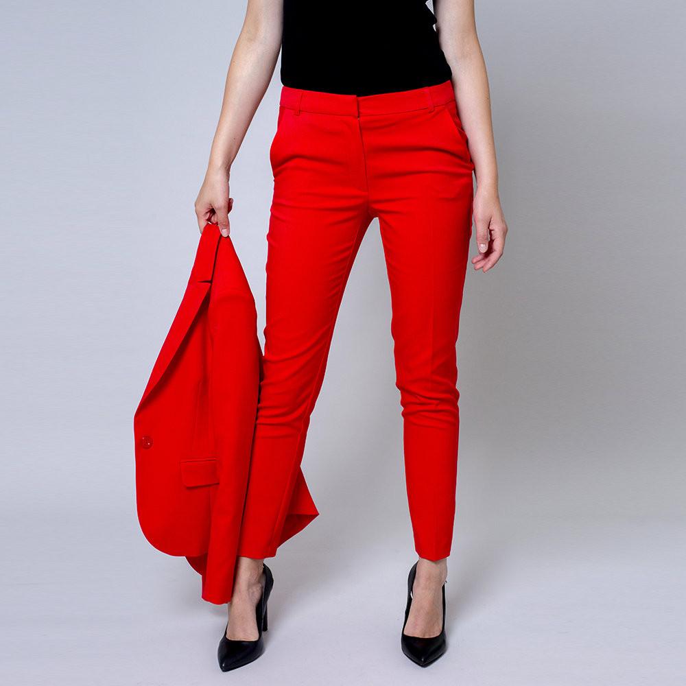 Czerwone klasyczne spodnie garniturowe