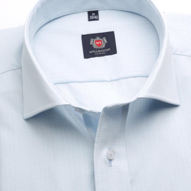 Jasnobłękitna taliowana koszula w kratkę