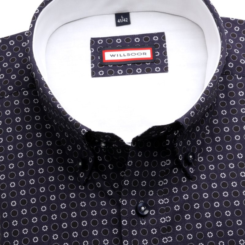 Granatowa klasyczna koszula we wzory