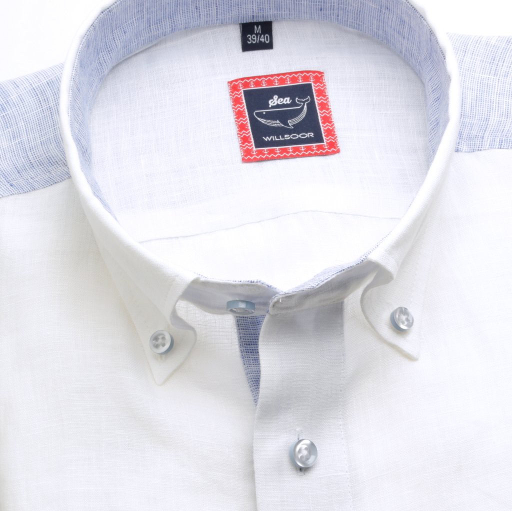 Lniana taliowana koszula