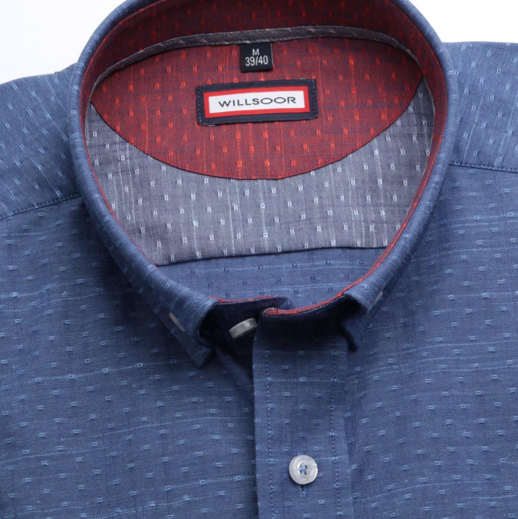 Niebieska taliowana koszula w kropki