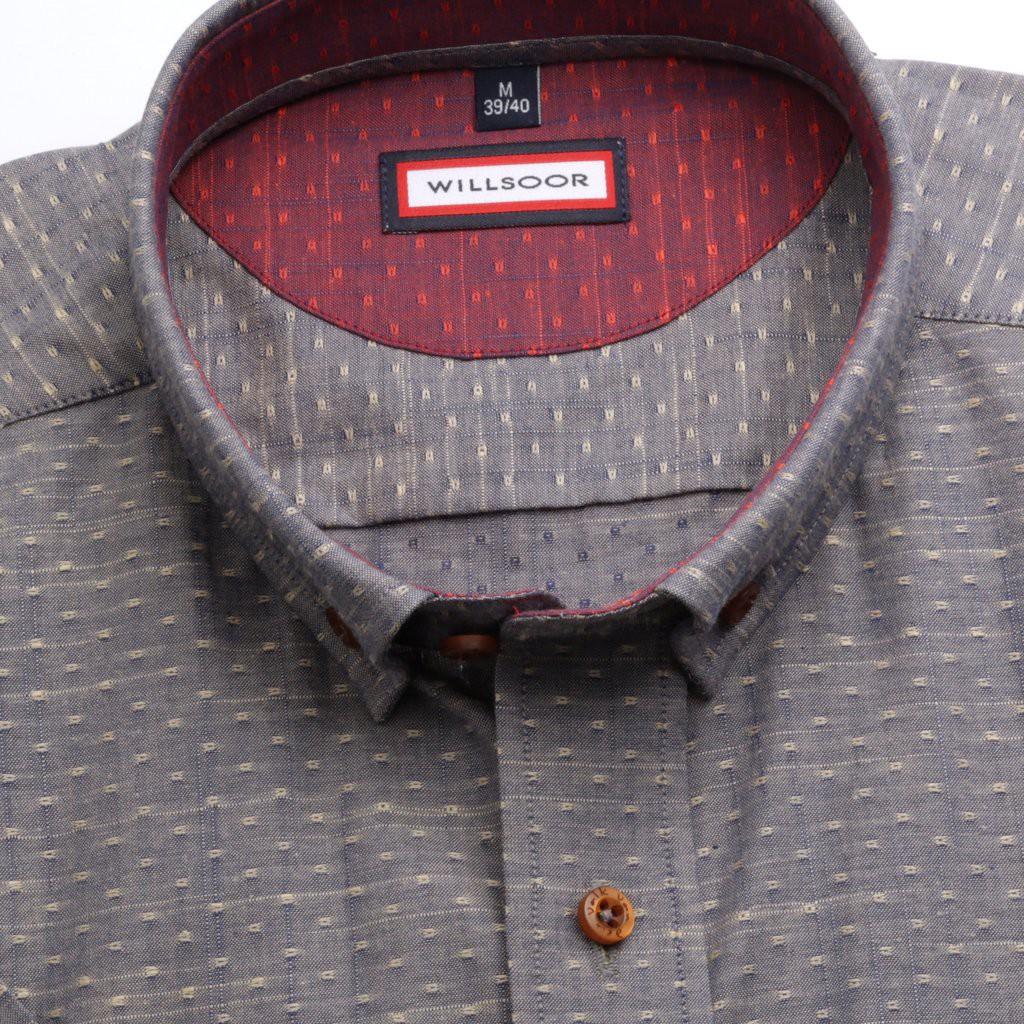 Szara taliowana koszula w kropki