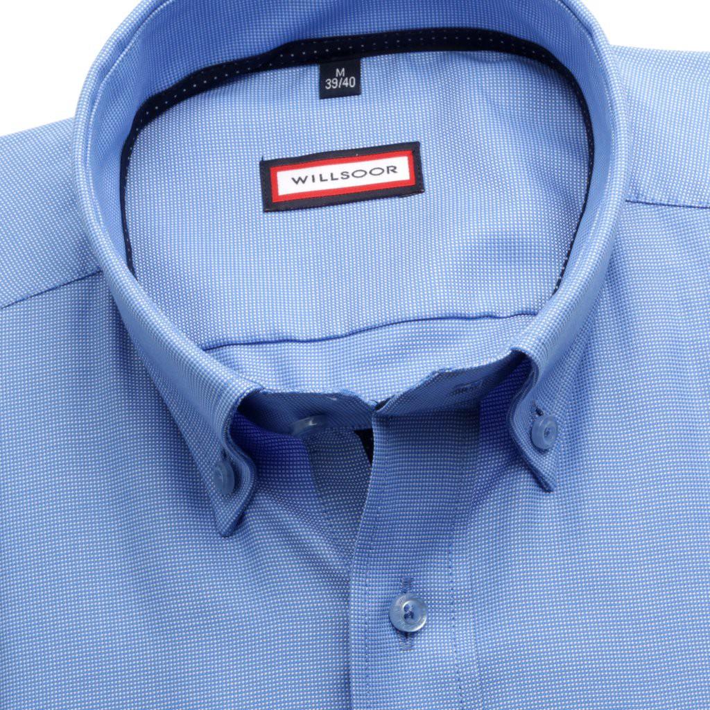 Błękitna taliowana koszula w mikrowzór
