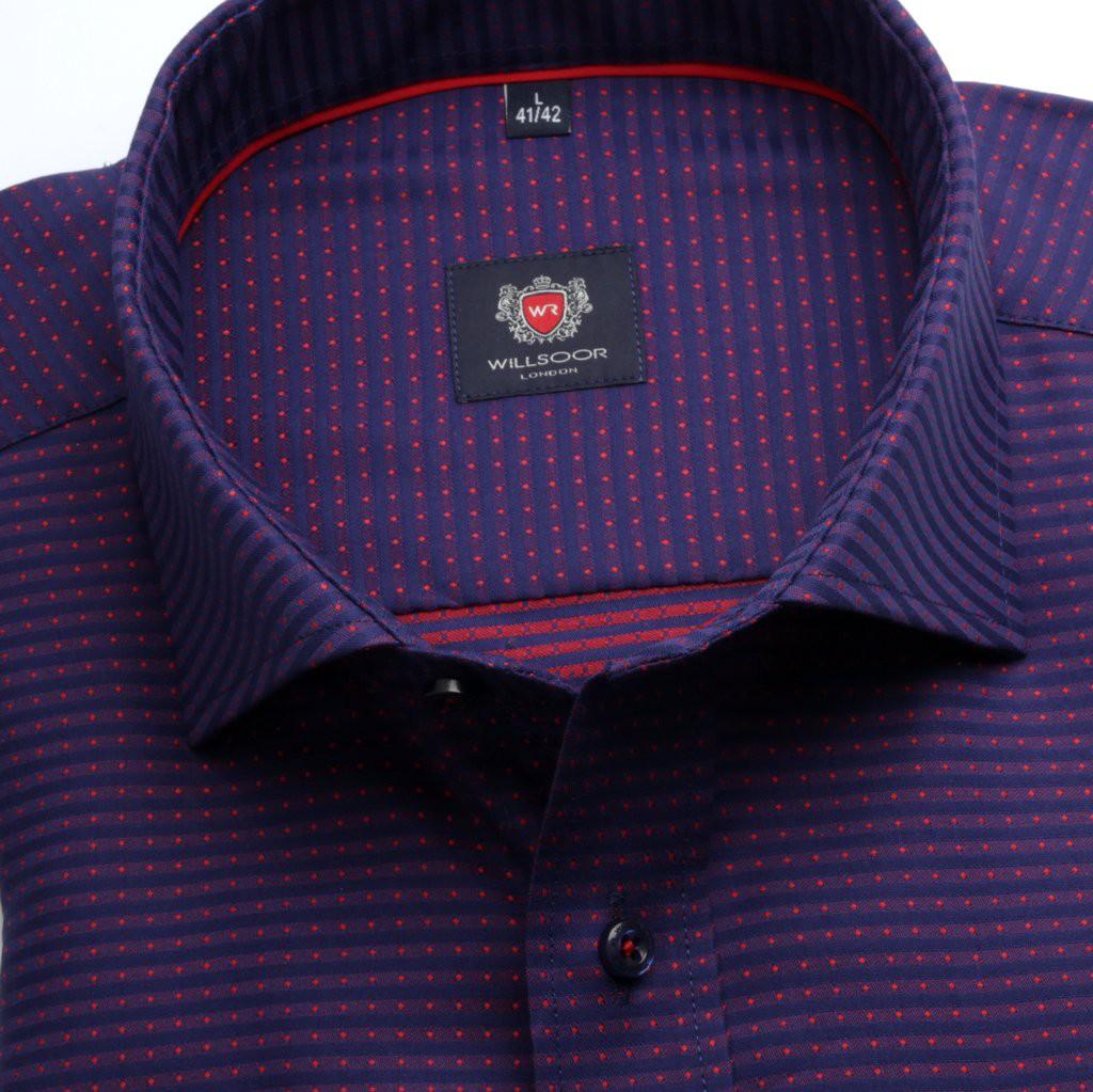 Fioletowo-granatowa taliowana koszula