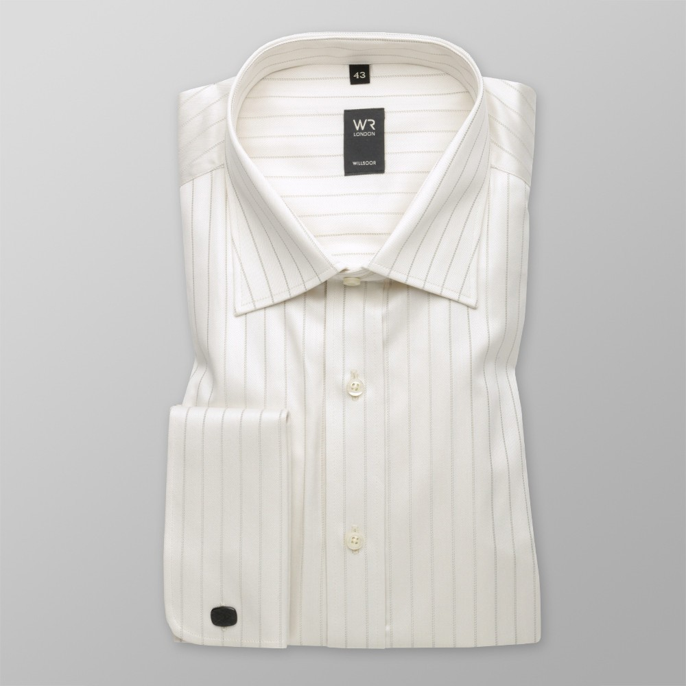 Klasyczna jasnobeżowa koszula na spinki