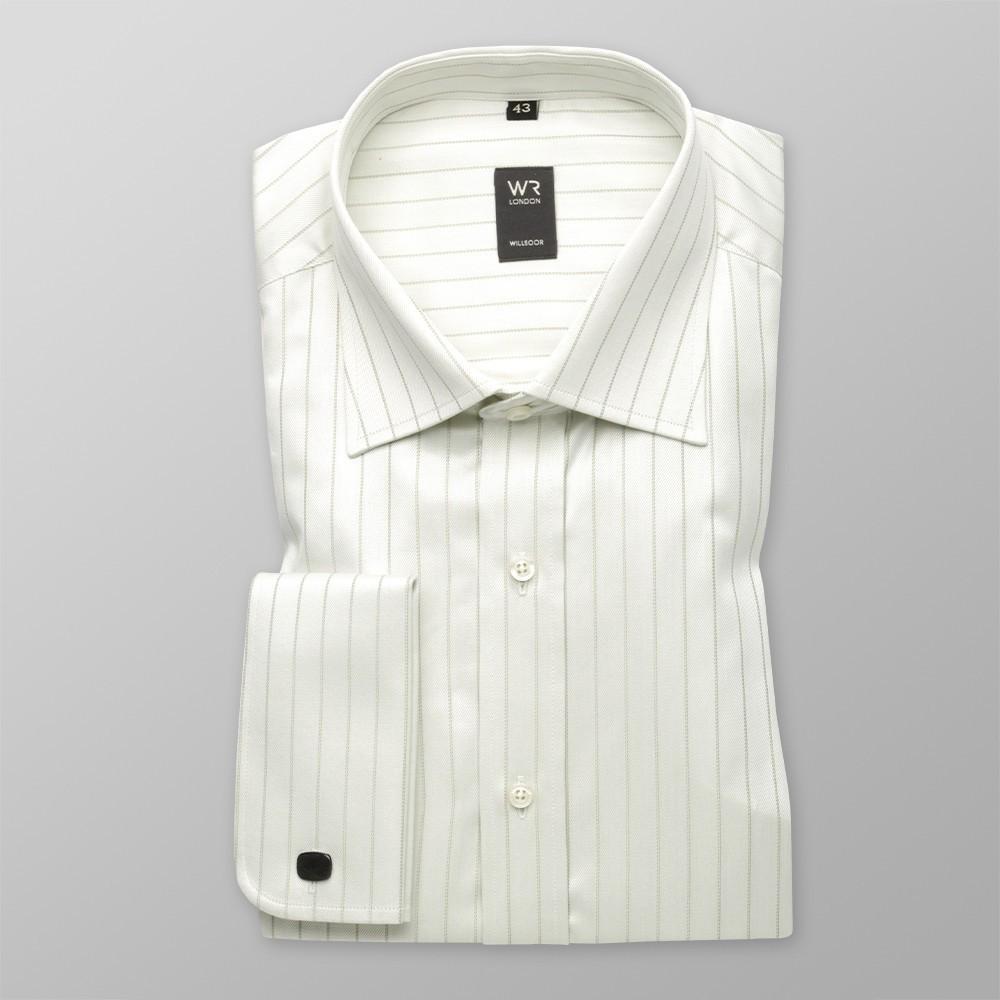 Klasyczna jasnooliwkowa koszula na spinki