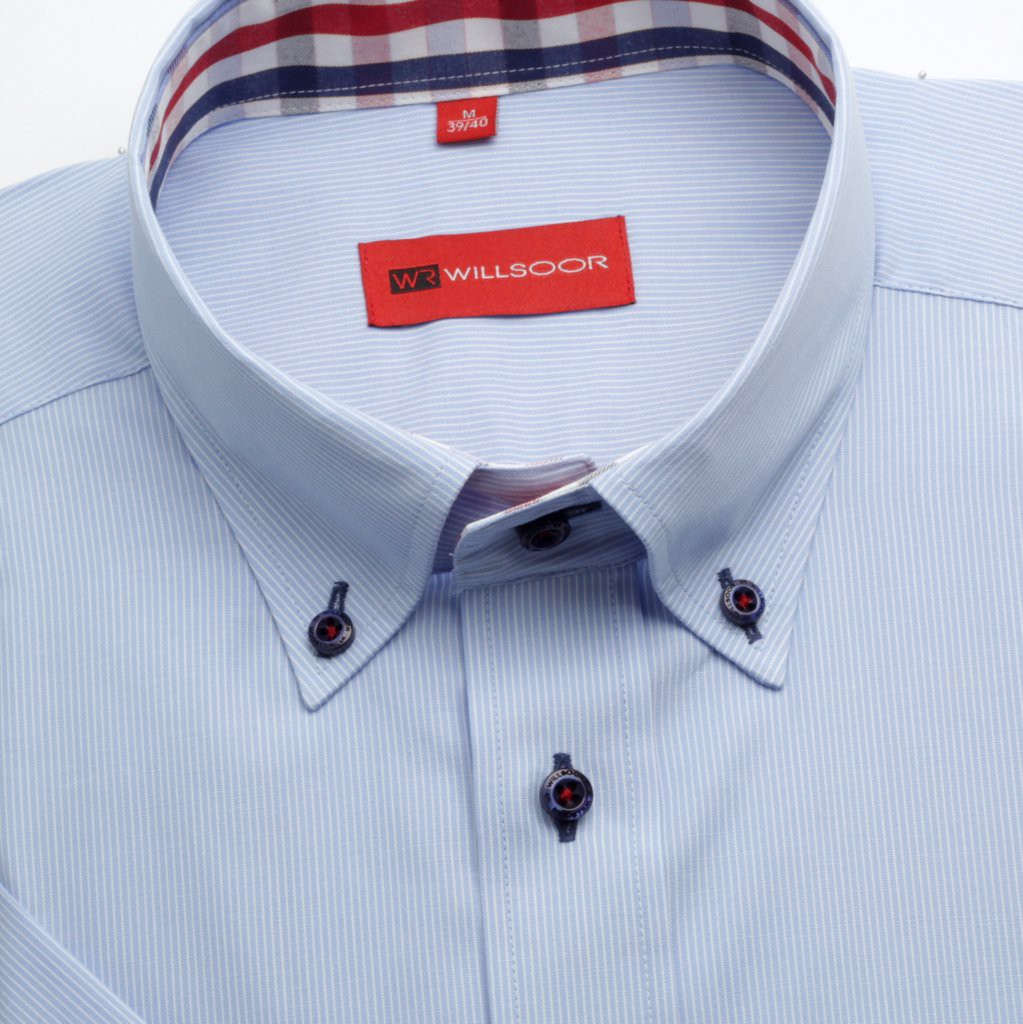 Jasnobłękitna taliowana koszula w prążek