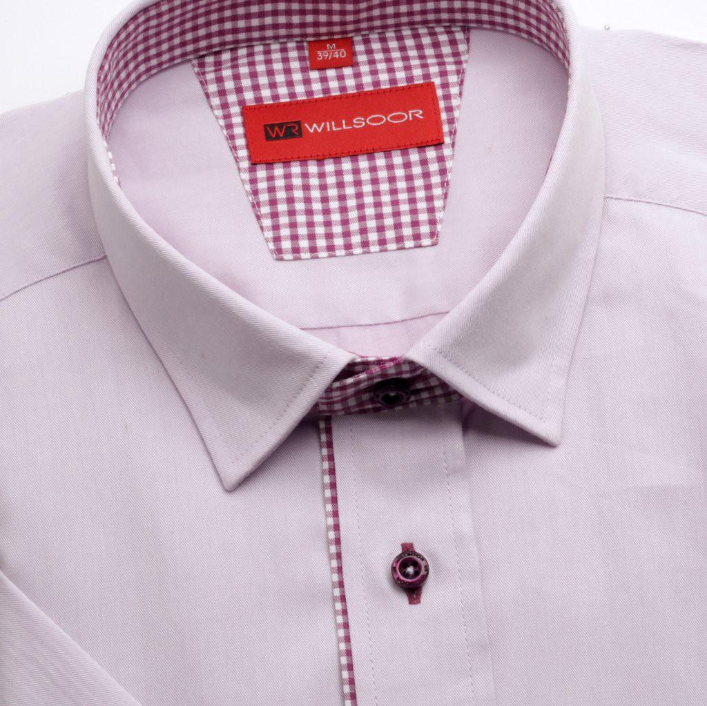 Jasnowrzosowa taliowana koszula z kontrastami