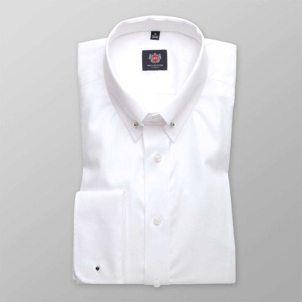 Biała taliowana koszula z kołnierzykiem pin-collar