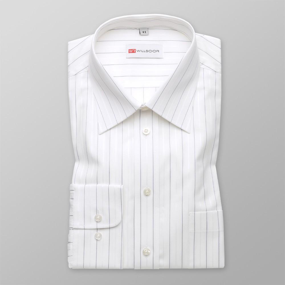 Biała taliowana koszula w cienkie prążki