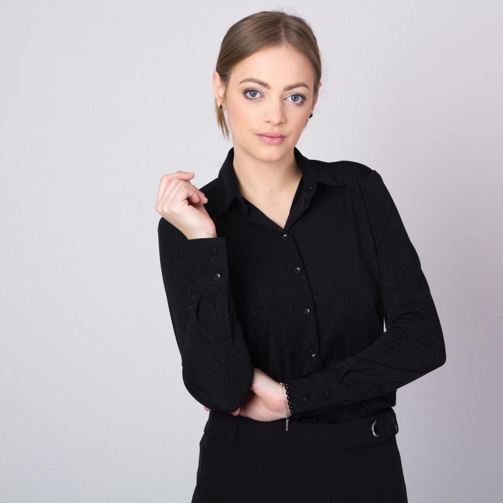 Czarna bluzka w brokatowy prążek o luźnym kroju