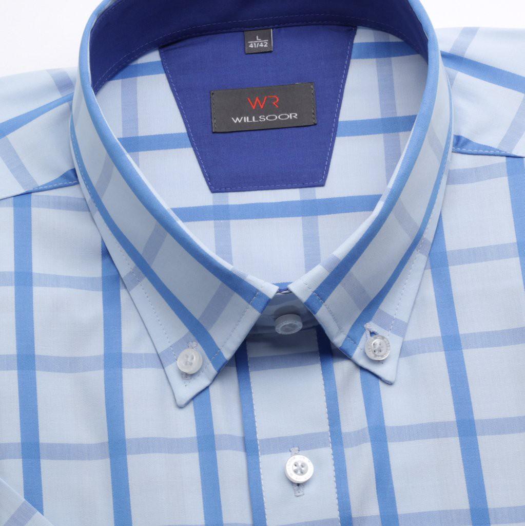 Klasyczna jasnobłękitna koszula w kratę