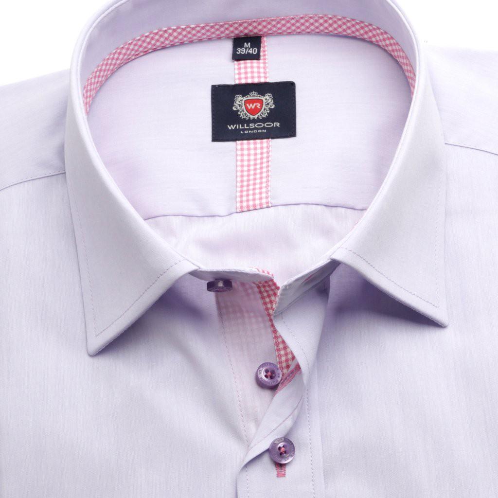 Klasyczna jasnowrzosowa koszula z kontrastami