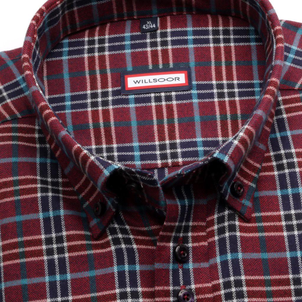 Klasyczna bordowa koszula w kratę