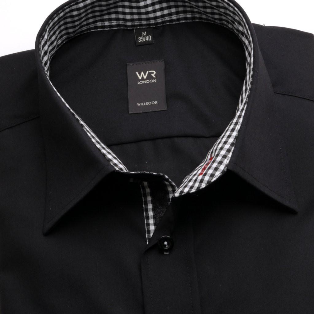 Taliowana czarna koszula z kontrastami