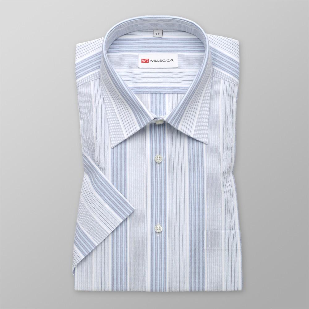 Biała taliowana koszula w prążki