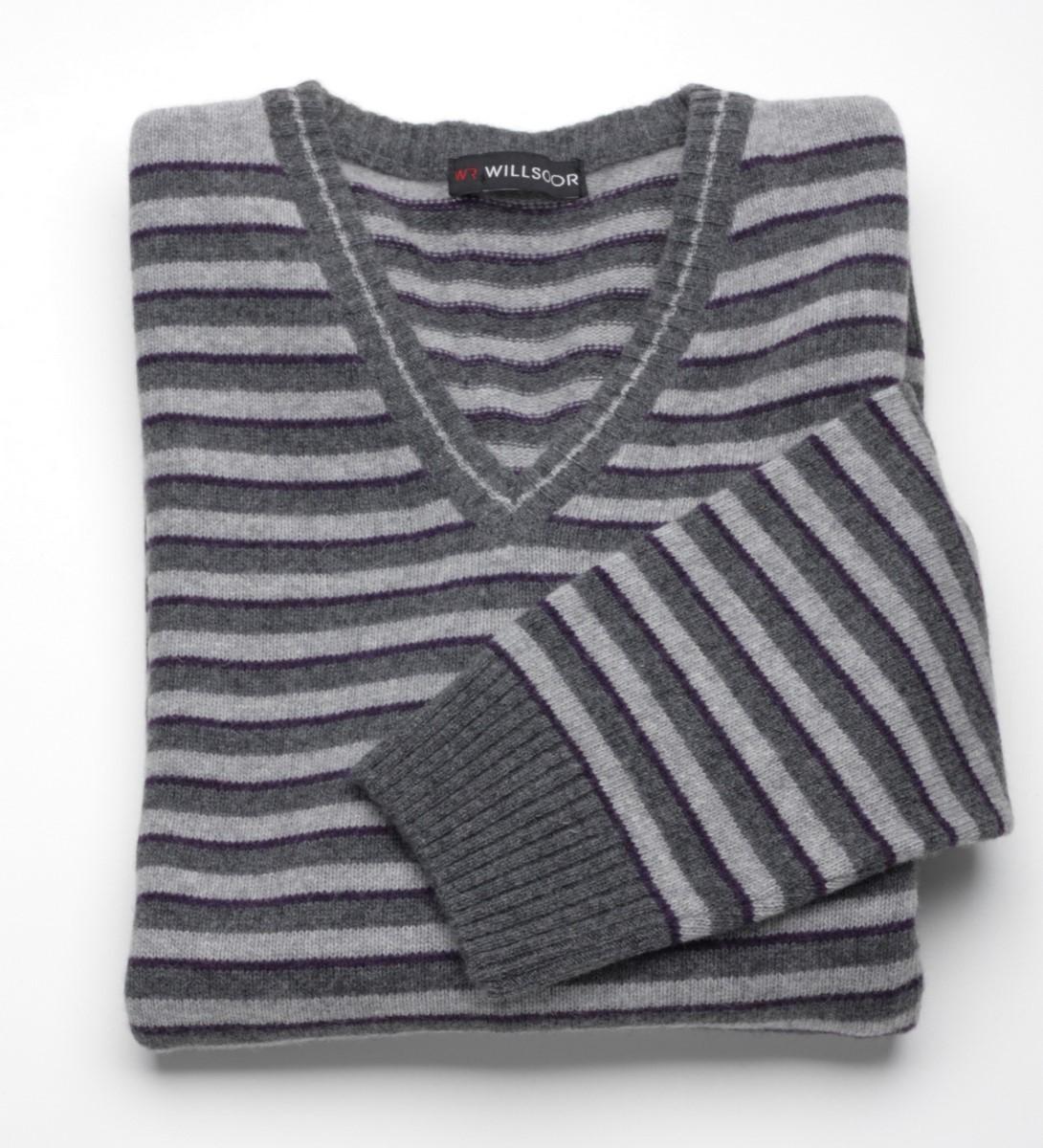 Sweter szpic Willsoor - szary w grafitowo-fioletowe pasy