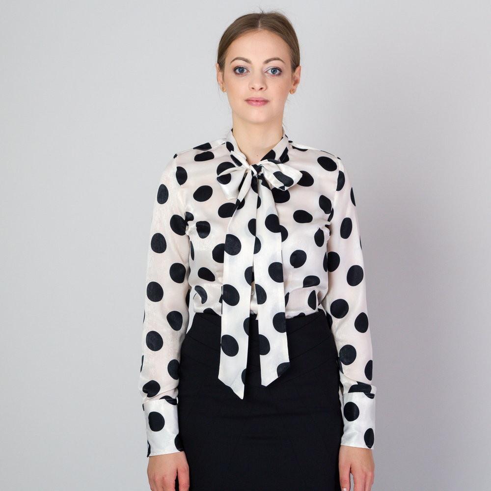 Bluzka damska w grochy z kokardą