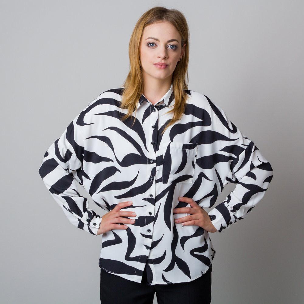 Biała bluzka oversize zebra