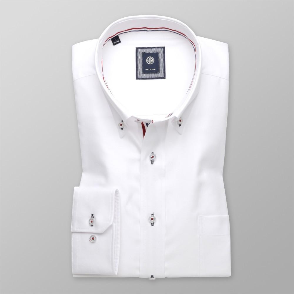 bcb983d9079fb4 Biała klasyczna koszula z tasiemką na plisie