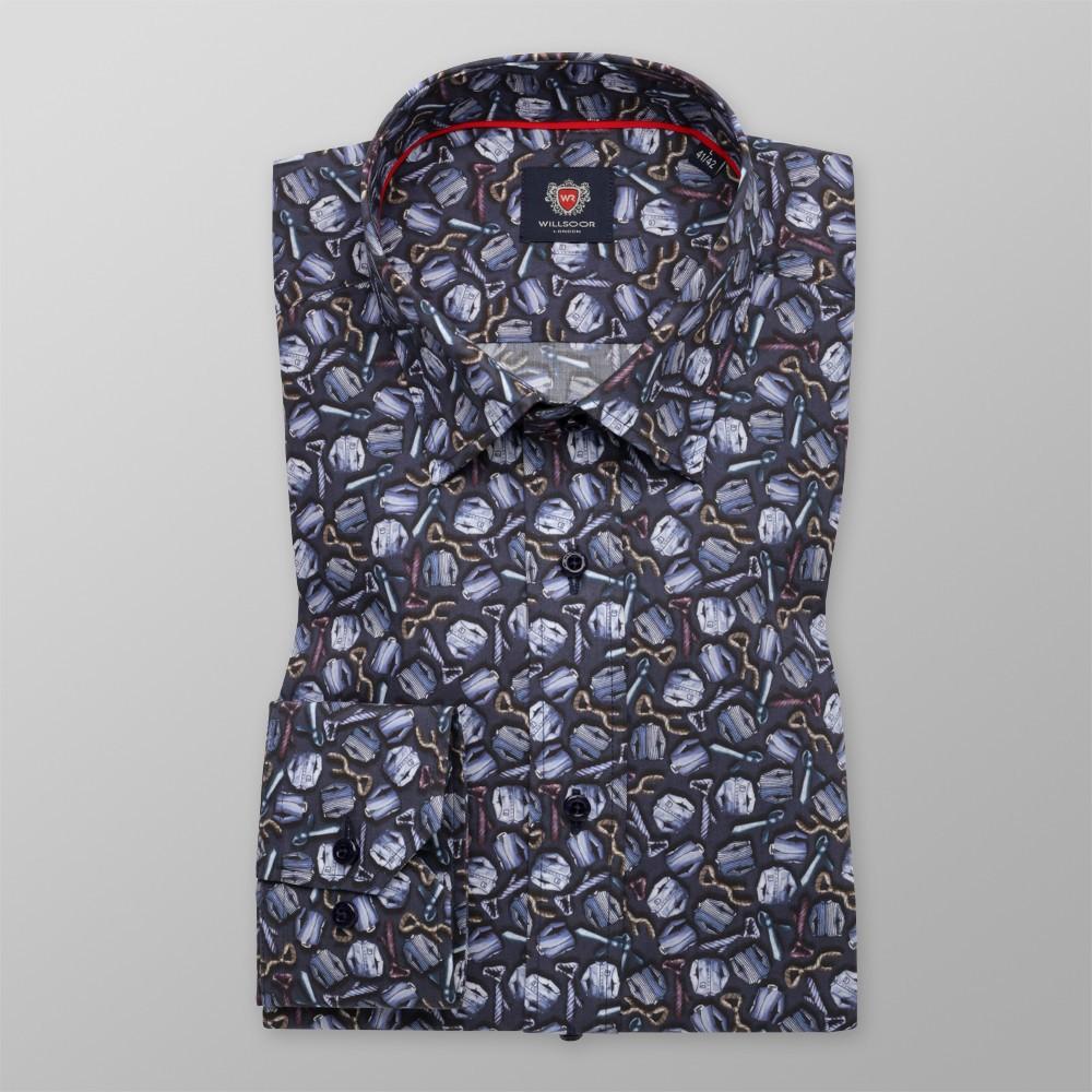 Granatowa taliowana koszula we wzór