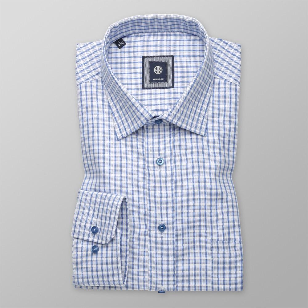 Biała taliowana koszula w niebieską kratkę
