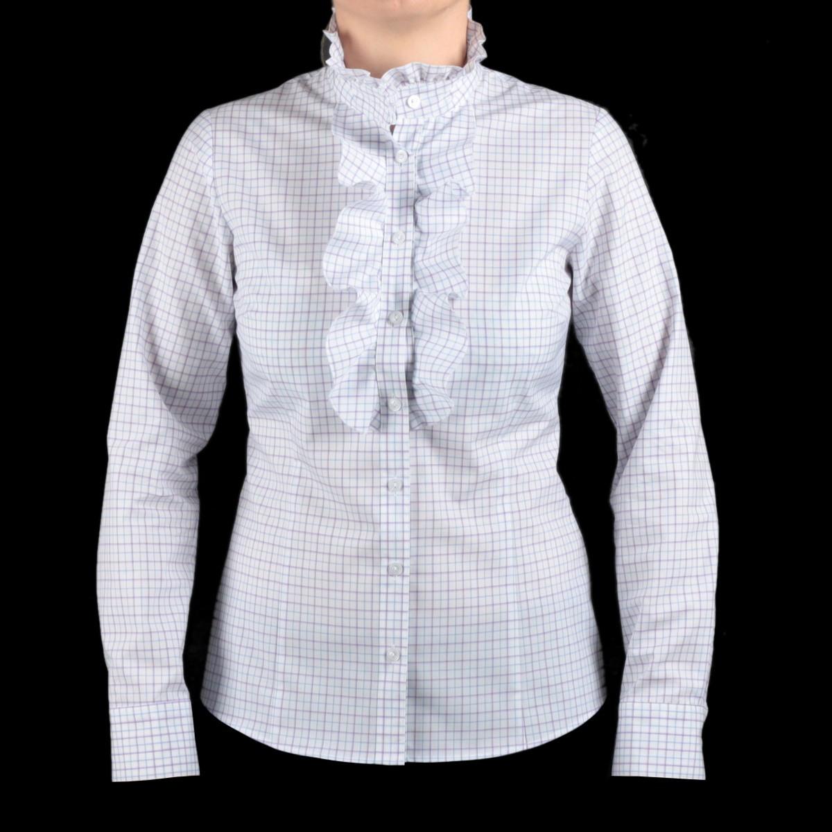 Biała bluzka w kratkę z żabotem