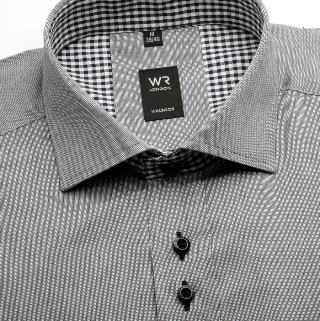 Szara klasyczna koszula w mikrowzór
