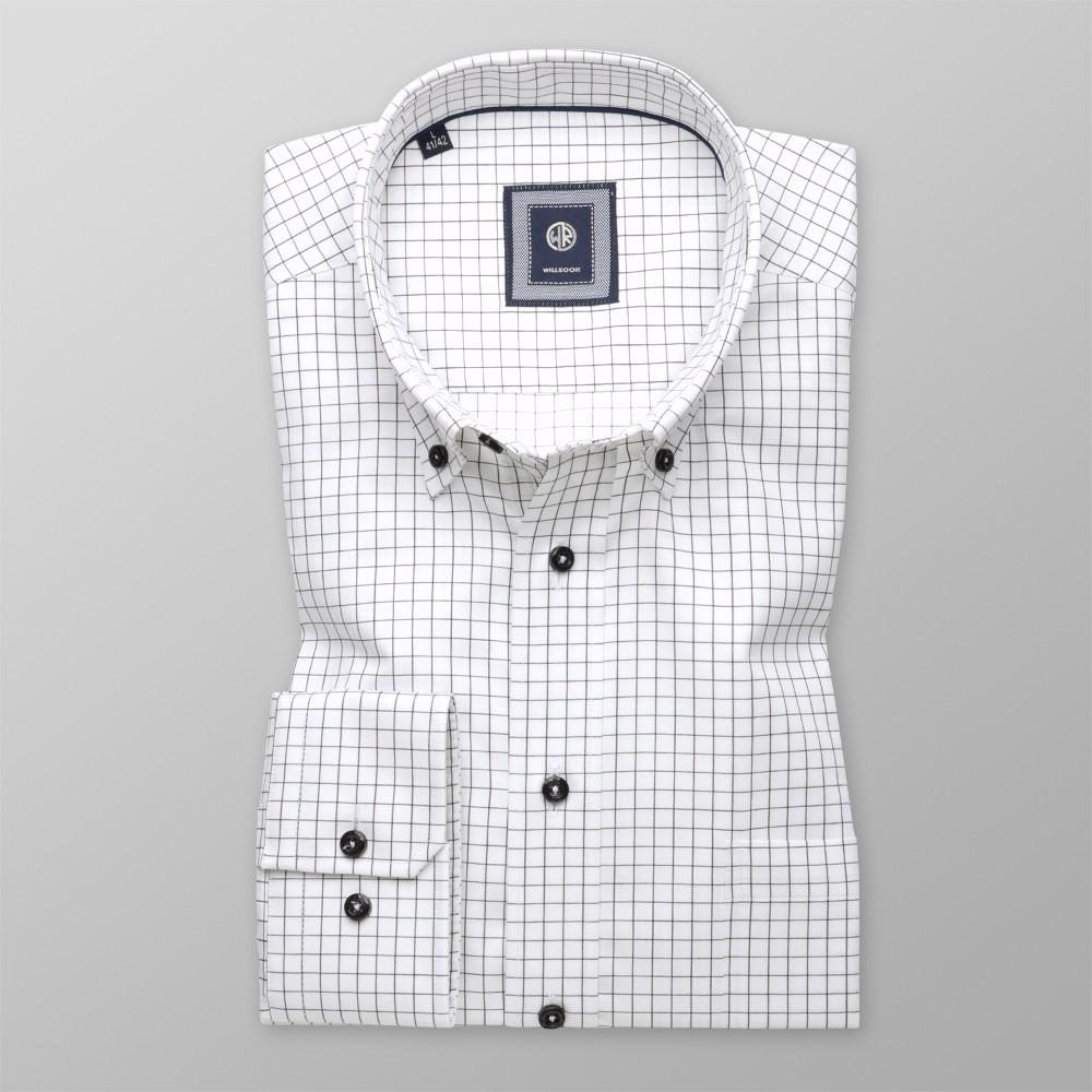 Biała klasyczna koszula w czarną kratę