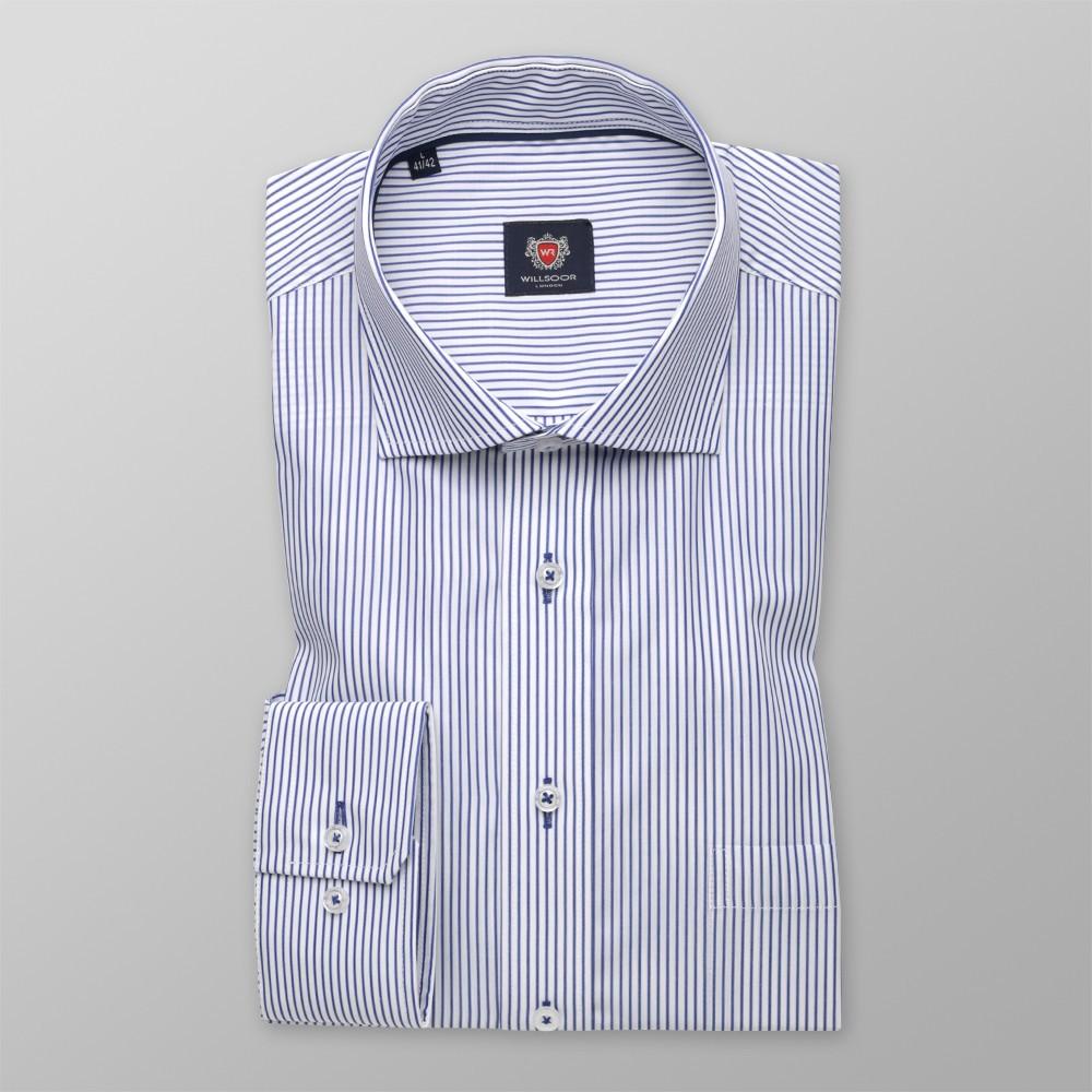 Biała klasyczna koszula w granatowe paski