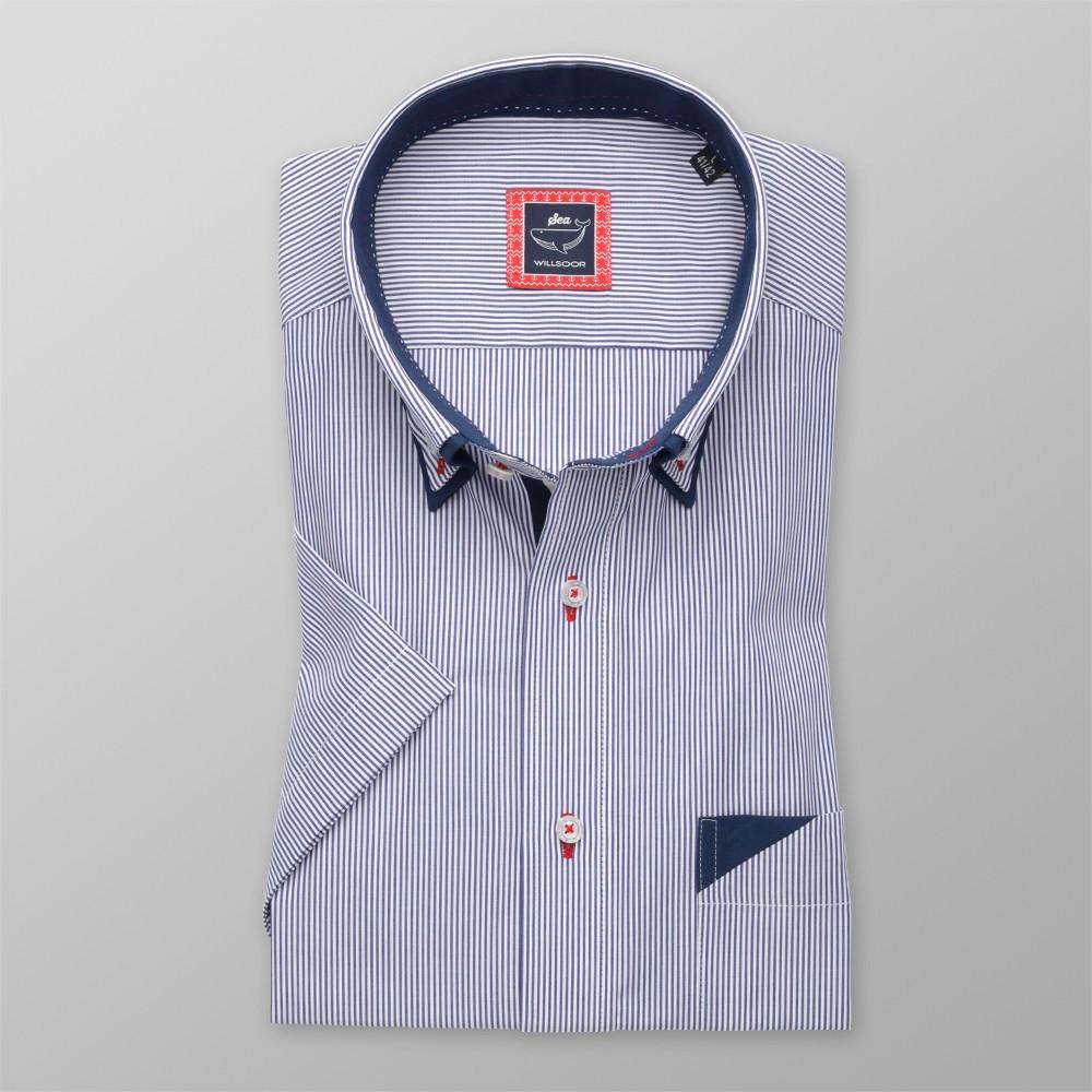 Klasyczna koszula w granatowo-białe paski