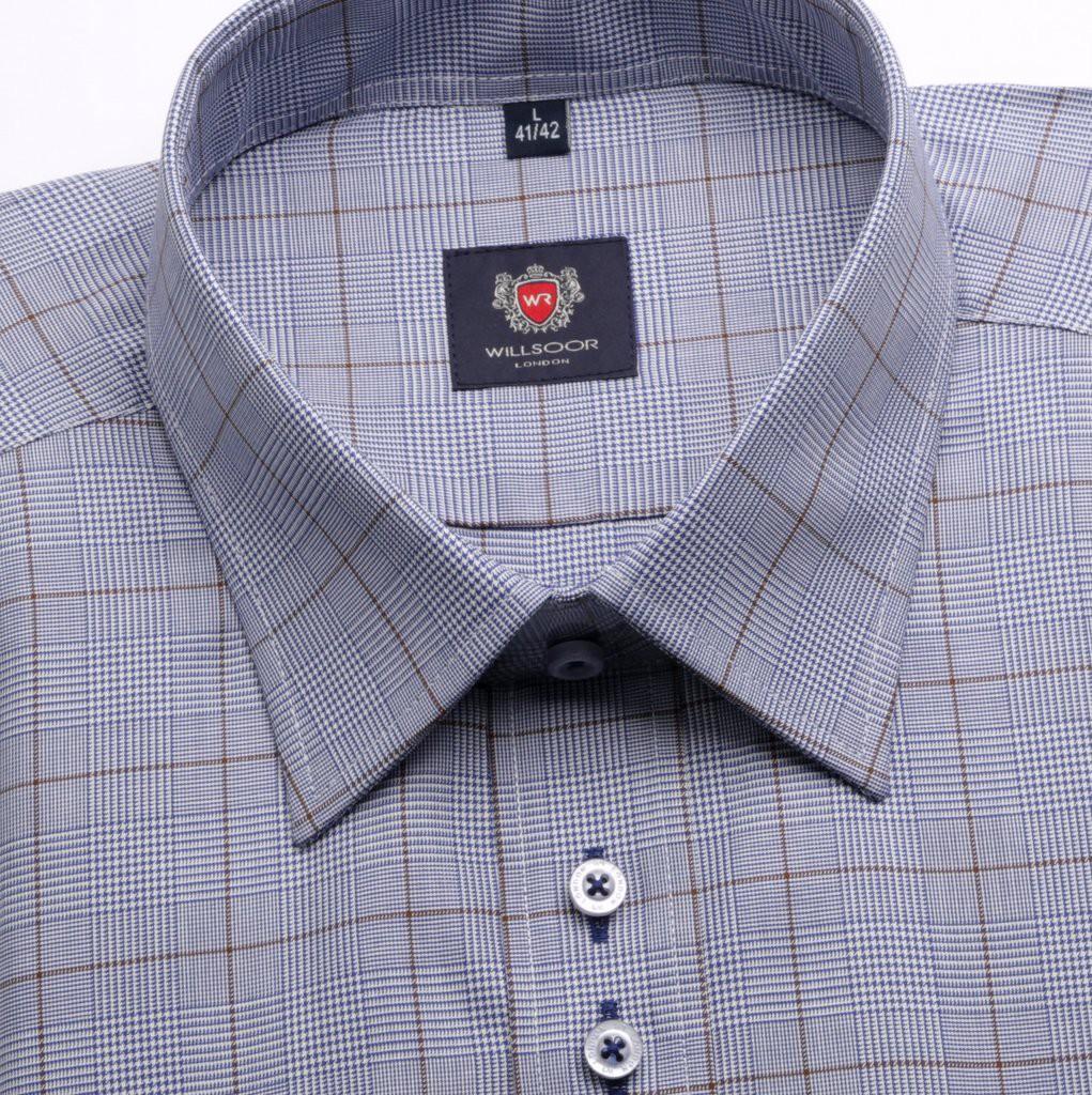 Taliowana błękitna koszula w kratkę i pepitkę