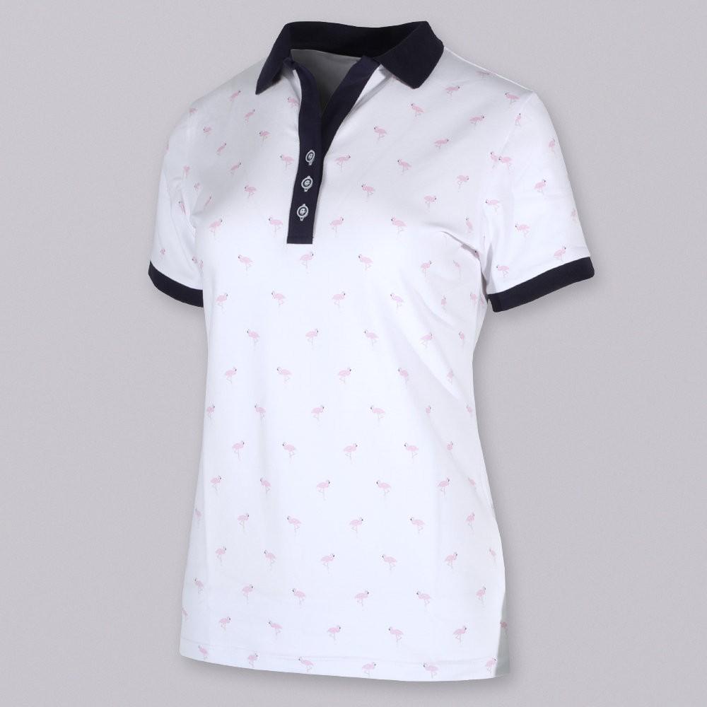 Biała koszulka polo we flamingi