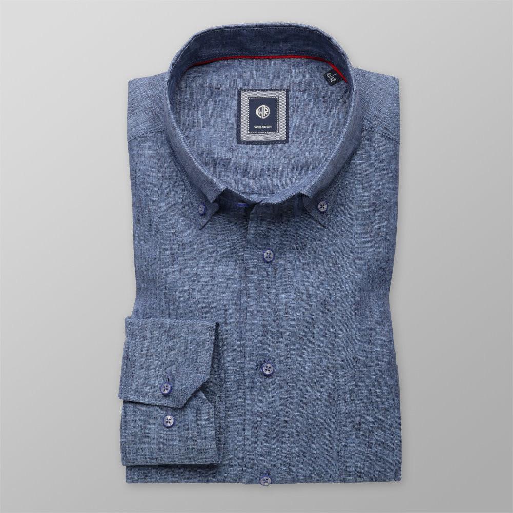 Niebieska lniana klasyczna koszula  zxmnb