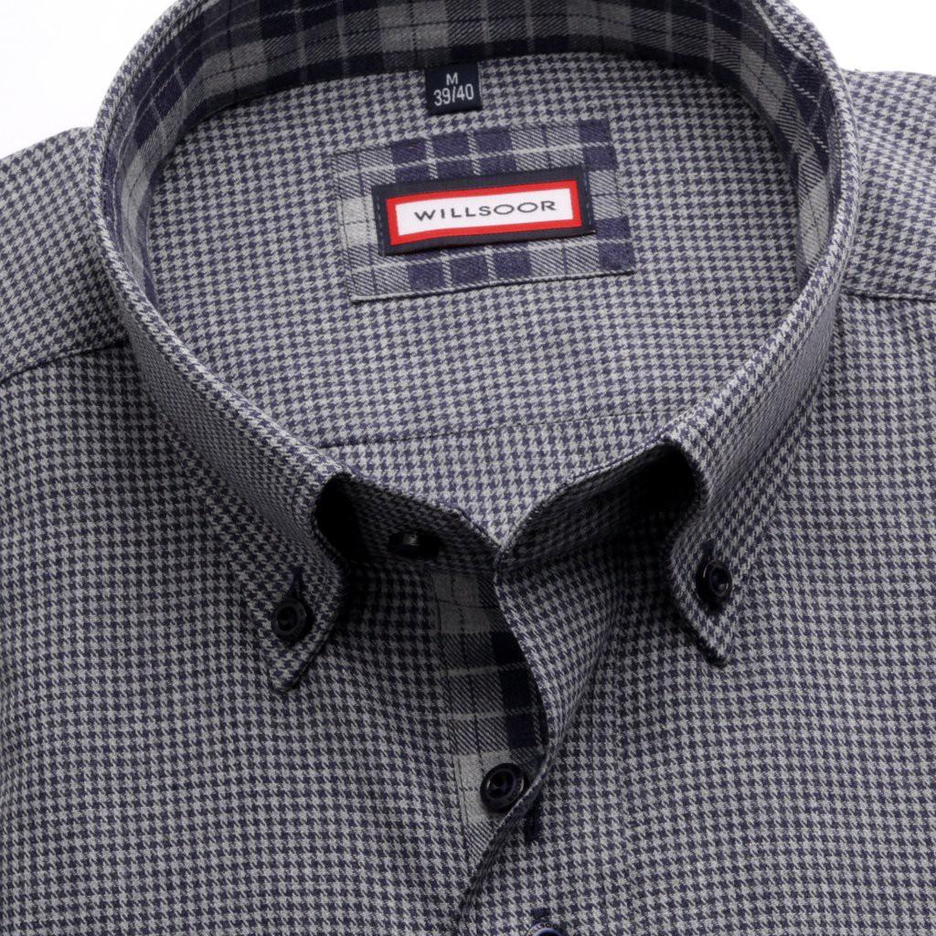 Klasyczna szara koszula w pepitkę