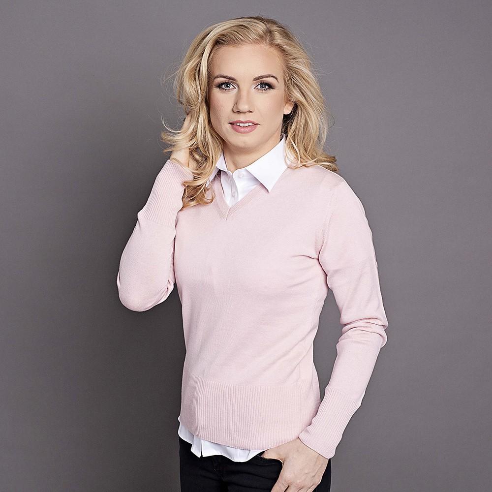 Różowy sweter damski szpic