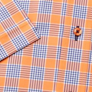 Pomarańczowa taliowana koszula w kratkę