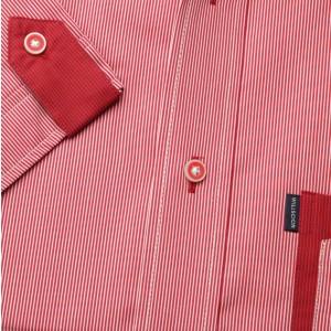 Czerwona taliowana koszula z pagonem