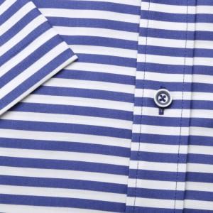 Biała taliowana koszula w pasy