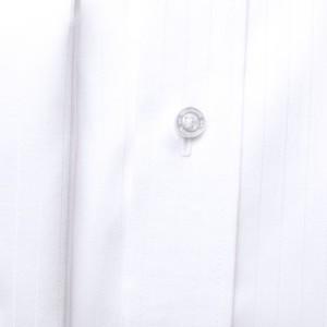 Biała klasyczna koszula w prążki na spinki