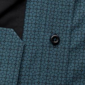 Turkusowa taliowana koszula we wzory