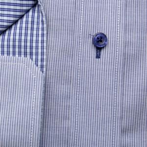 Popielata taliowana koszula w paski