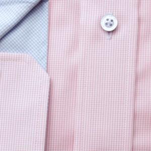 Różowa taliowana koszula w kratkę