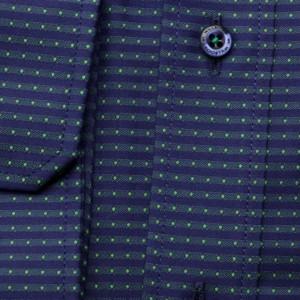 Granatowo-zielona taliowana koszula w kropki