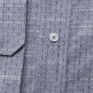 Popielata taliowana koszula w kropki