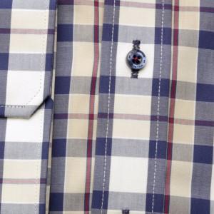 Beżowa taliowana koszula w kratę