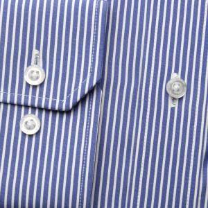Granatowa taliowana koszula w paski