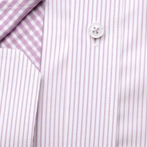 Biała taliowana koszula w paski