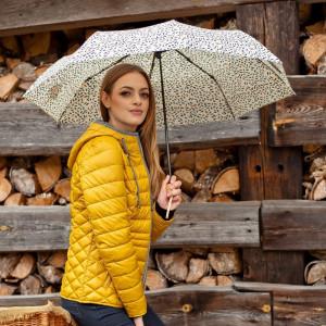 Beżowy parasol Perletti w granatowe wzorki
